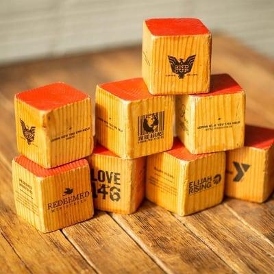 Allies logos printed on wooden blocks
